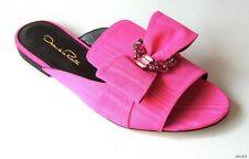 new $690 Oscar de la Renta Nev fuchsia pink CRYSTAL JEWELED BOW shoes 37 7 6.5 6