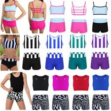 Kid Gymnastics Gym Outfit Girl Ballet Jazz Dancewear Crop Top+Bottoms Activewear