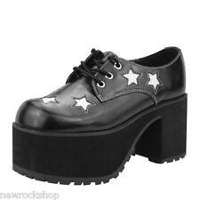 T.U.K. A8617L TUK Shoes Nero Bianco Stelle Pelle Scarpe Con Tacco Alto Piattaforma EPISTASSI