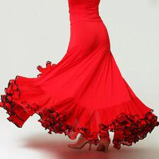 Women Latin Rumba Skirt Salsa Flamenco Ballroom Dance Dress Modern Tango Costume