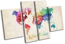 World Atlas Wanderlust Maps Flags MULTI CANVAS WALL ART Picture Print