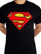 Superman Logo Distressed Classic DC Comics Justice League Black Mens T-shirt