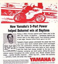 1968 YAMAHA MOTORCYCLE / YVON DUHAMEL DAYTONA 500  ~  SMALLER ORIGINAL PRINT AD