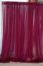 "Burgundy wedding backdrop decoration drapes sheer 13 to 18 ft x 114""."