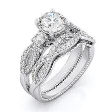 Vintage .925 Sterling Silver Round cut Lab Diamond Engagement Ring Wedding Set