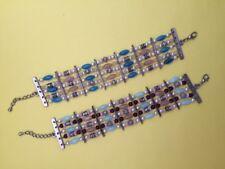 5 Strand Blue Silver Bead & Pearl Bracelet-Extension Chain-2 Colours- AUS SELLER