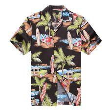 Made in Hawaii Men Aloha Shirt Luau Cruise Party Vintage Mini Surfboard Black