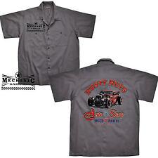 HotRod Oldtimer ROCKABILLY TALLER Camisa De Trabajo Kustom Camisa 1177 Gris