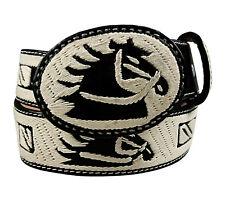 Adult Embroidered Leather Belt Horse Head Design Black