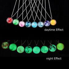 Unisex Fluorescent Cosmic Pendant Glow In The Dark Luminous Long Chain Necklaces