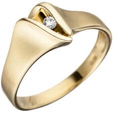Damen Ring 585 Gold Gelbgold matt 1 Diamant Brillant Goldring Diamantring.