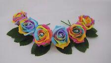 Rainbow Artificial Rose Flower Wedding Buttonholes Diamante, Groom, Guest, Best