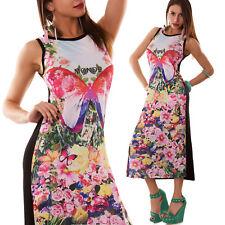 Abito lungo donna retina multicolor fiori farfalla vestito nuovo CC-961