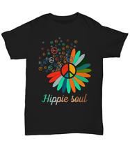 Love Peace Sign Hippie Soul T-Shirt Gift Life Flower Good Vibe Hippy Unisex Tee