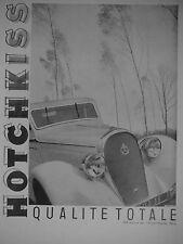 PUBLICITÉ 1935 HOTCHKISS QUALITÉ TOTAL AUTOMOBILE LUXE AVENUE DES CHAMPS-ELYSÉES