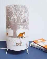 Woodland Animal Fabric Lamp Featuring Fox, Stag, Squirrel, Pheasant, Owl, Rabbit