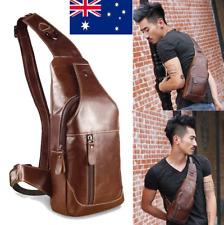Men's Sling Bag Genuine Leather Chest Shoulder Backpack Cross Body Purse