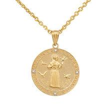 10k Yellow Gold Saint Francis of Assisi Medallion Diamond Small Pendant Necklace
