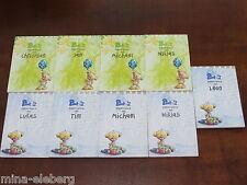 PIMBOLI A6 Block Namen AUSSUCHEN Namensblock NEU 35 Blätter + Sticker grün blau
