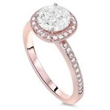 1ct Cushion Halo Diamond Engagement Ring 14K Rose Gold