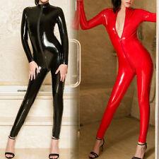 Women Latex Leather Lingerie Jumpsuit Zipper Open Crotch Shiny Bodysuit Clubwear