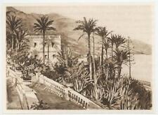 ANTIQUE PALM TREES STONE WALKWAY PLANTS GARDEN MEDITERRANEAN MINIATURE ART PRINT
