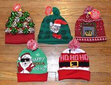 Ugly Stuff Holiday Supply Co. Christmas Hats Beanie Pom Pom Cat LED Blinking Eye