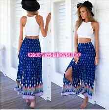 Womens Gypsy Boho Tribal Floral Skirt Maxi Summer Beach Long Casual Skirt Dress