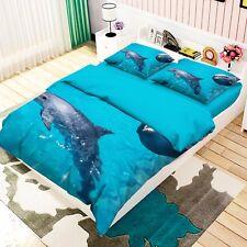 3D Aquarium Two Dolphins 4 Bed Pillowcases Quilt Duvet Cover Set Single Queen Ca