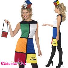 Ladies Rubik's Cube Costume Rubiks 80s 1980 Rubix Fancy Dress + Headband + Bag