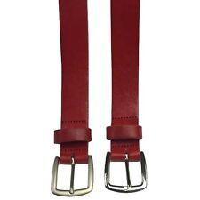 "30mm Full Grain Leather 1.25"" Inch Wide Red Hide Belt Handmade In England"