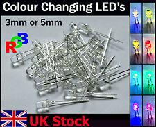 25pack Rainbow LEDS 3mm 5mm Slow Changing Cycle RGB LED Mulitcolour - UK Stock