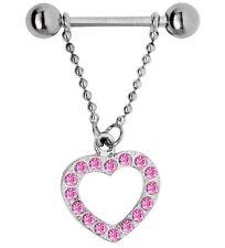 Piercing Schmuck Brustkette mit Hantel und Herz Anhänger mit Steinkranz 12-14mm