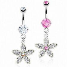 Piercing de Ombligo Joyería Tapones con cristales Cúbica Flores Colgante