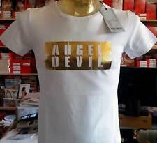T-Shirt Herren Angel Devil Kurze Ärmel Rollkragen mit Druck Logo Gold Art. Tu374
