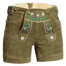 De mujer Pantalones de cuero corta verde con el bordado colorido la flor+correas