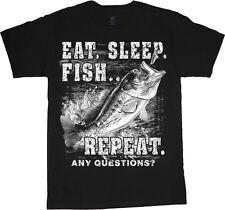 Funny Fishing shirt for men eat sleep fish bass decal t-shirt gift for men