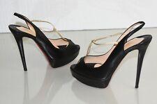 $895 NEW Christian Louboutin ALTA SPRINTNEY 140 Platform Black Leather Shoes 41