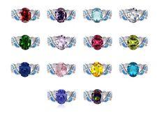 Grande Taglio Ovale Promessa Infinity Celtico Pietra Zodiacale W Blu Opale