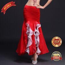 Girls Belly Dance Costume Performance Long Fishtail Waves Skirt Dress slit Skirt