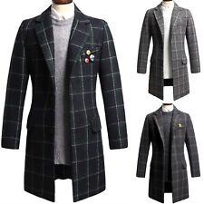 Mens Luxury Dandy Modern Slim Fit Check Long Coat Blazer Jacket Jumper Top T081