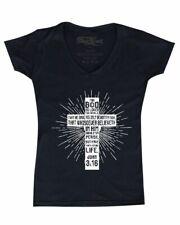 John 3:16 Bible Verse Cross Women's V-Neck T-shirt Christian Jesus Gospel Tee
