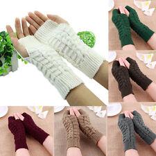 Fashion Unisex Men Women Knitted Fingerless Winter Gloves Soft Warm Mitten AU