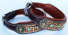 Rhinestone Dog Puppy Collar Crystal Western Cow Leather  6028CO217