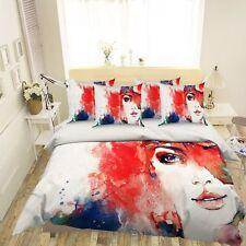 3D Girl Watercolor 56 Bed Pillowcases Quilt Duvet Cover Set Single Queen Us