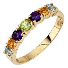 Ring, Topas blau, Citrin, Amethyst, Peridot, 333 Gold Gelbgold, Damen, Goldring
