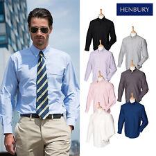 Henbury Long Sleeved Classic Oxford Shirt H510 - Unisex Button Down Collar Shirt