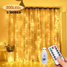 300 LED Fairy String Lights Curtain Window Wedding Christmas Decor + Controller