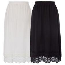 Fashion Womens Elastic Waist Lace Trim Cotton Skirt Maxi Long Dress S M L XL XXL