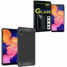 "Coque Silicone Fibre de Carbone Samsung Galaxy A10 6.2"" A105F avec Verre Trempé"